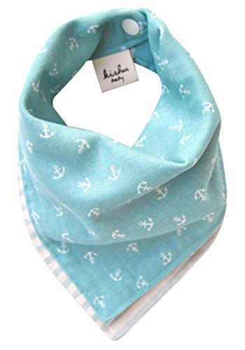 Kishu Baby Unisex Baby's Reversible Nautical Bandana Bib | One Size Turquoise