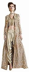 Begum Riwaaz Women's Georgette Unstitched Dress Material (12003, Beige)