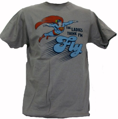 SUPERMAN THE LADIES THINK I'M FLY Dark Silver Fitted T-shirt Discount