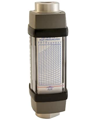 """Hedland H671A-025 Flowmeter, Aluminum, For Use With Air and Other Compressed Gases, 3 - 25 scfm Flow Range, 1/2"""" NPT Female"""
