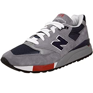 New Balance Men's M998 Sneaker,Grey/Navy/Red,13 D