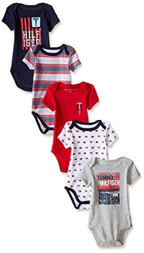 Tommy Hilfiger Baby-Boys Bodysuit Short Sleeved - Stripes and Solids, Red/Navy, 6-9 Months (Pack of 5)