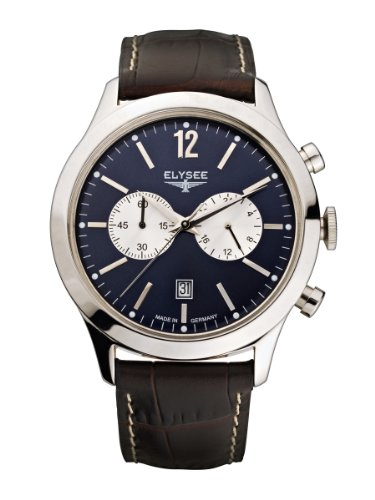 Elysee Men's Quartz Watch with Blue Dial Analogue Display and Brown Leather Strap 18005
