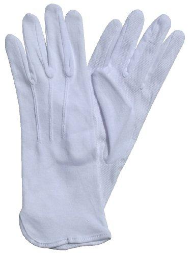 Beaded Cotton Gloves Extra Long in Black, White or Tan (Skin) Color (Med, White)