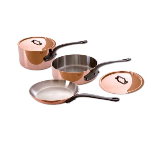 Mauviel M'Heritage Copper 150c 6400.01 5-Piece Set with Cast Iron Handles