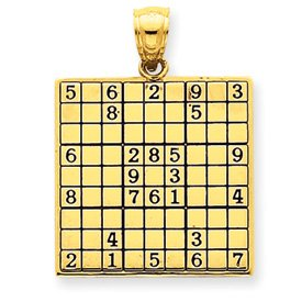 14k Antiqued Sudoku Game Board Pendant - JewelryWeb