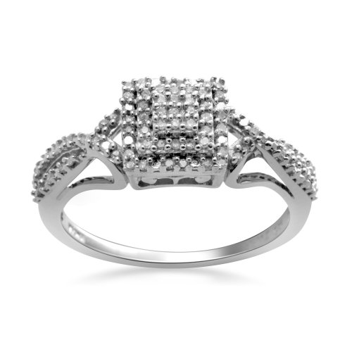 Sterling Silver Diamond Square Head Promise Ring (1/5 Cttw, I-J Color, I3 Clarity), Size 6