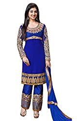 DKS Designers Women's Georgette Unstitched Dress Material (PN302_Blue_Free Size)