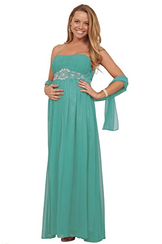 Maternity Formal Cocktail Chiffon Strapless Rhinestone Full Length Maxi Gown