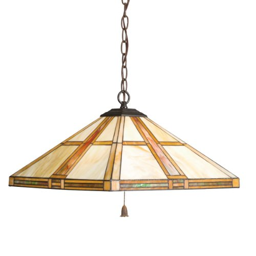 Kichler Lighting 65069 3-Light Tarlton Art Glass 3-Way Pull-Chain Pendant, Dore Bronze