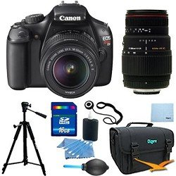 EOS Rebel T3 SLR Digital Camera w/ 18-55mm Lens II and Sigma 70-300mm F/4-5.6 LD Telephoto Zoom Pro Kit. Kit Includes 16GB Memory Card, Compact Deluxe Gadget Bag, Tripod, 3pc. Lens Cleaning Kit, Professional Blower, and more.