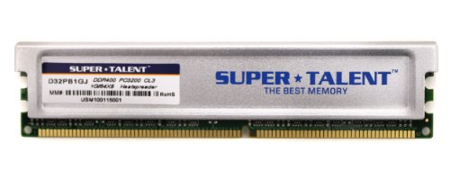 Super Talent DDR400 1GB/64X8 CL3 16CH Memory (PC and MAC G5) D32PB1GJ (Wi Gaming System compare prices)
