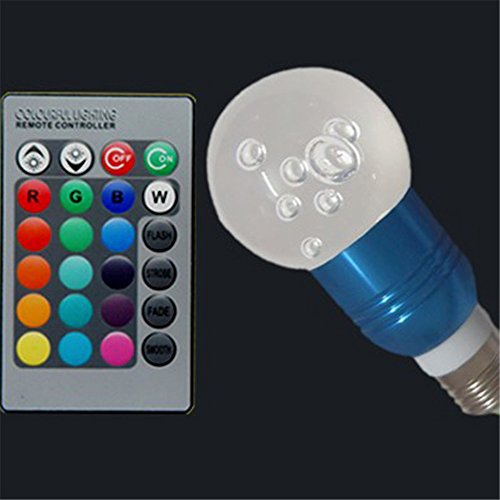 3W E27 Change Color Acrylic Ceiling Lamp Light Bulb + Remote Controller Blue Ball Style