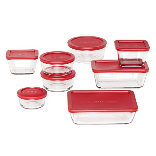 Anchor Hocking 16-Piece Storage Set With Red Plastic Lids