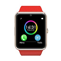 LeFun One Bluetooth Phone Smart Watch Wrist Phone with NFC Cell Phone Watch Phone Mate For Android (Full functions) Samsung S3/S4/S5/Note 2/Note 3/Note 4 HTC Sony LG and iPhone 5/5C/5S/6/6 Plus (Partial functions) (Red)