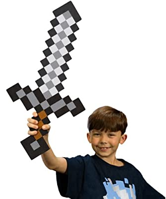 Minecraft Foam Sword Toy Is A Great Christmas Or Birthday Party Gift For Boys Who Like To Play Minecraft Games Online Pretend To Be In The Game With Minecraft Gear Like This Sturdy Eva Foam Iron Sword To Defend Against Creepers Zombies And Other Mobs from