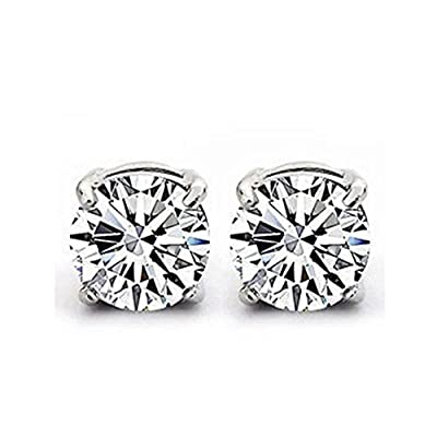 925 Sterling Silver Stud Earrings Set with 6MM Cubic Zirconia Stones.Beautiful jewellery for special