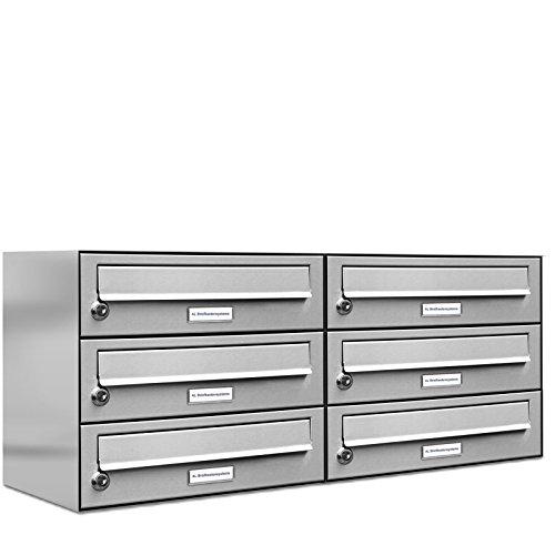 6er 2x3 premium edelstahl briefkasten anlage einbau aufputz. Black Bedroom Furniture Sets. Home Design Ideas
