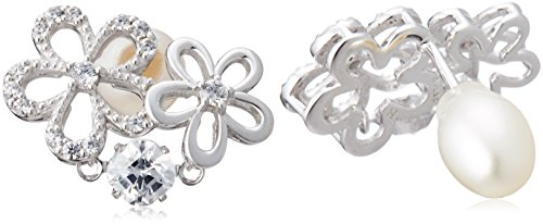 [New York crossfor] Crossfor New York Silver earrings Pearl catch flowers flower made in Japan NYE-119