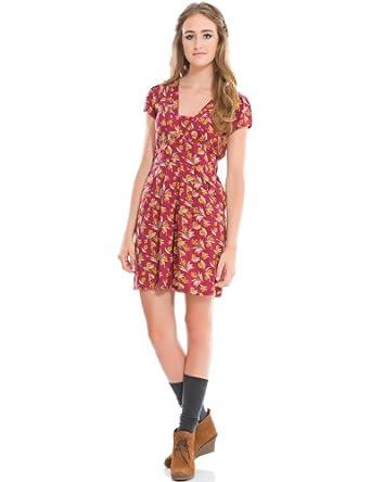 Springfield - Kleid mit Blumenprint und Kurzarmschnitt an der Schulter ...