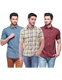 Jogur Pack Of Three Casual Assorted Colors Half Sleeves Shirts For Men