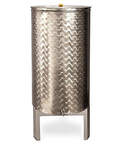Mistermoby Serbatoio Acciaio Inox 500 Litri Olio Vino Birra Coperchio Contenitore Cisterna