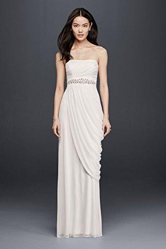 Mesh Sheath Wedding Dress with Beading and Side Drape Style SDWG0417, Soft...