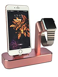 Apple Watch Charging Stand, iPhone SE 6S Plus Charging Dock Station, Apple iPad Pro Pencil Charger Stand, [2 in 1 Charging Dock], Solid Aluminum Charger Station for Apple Watch 38mm/ 42mm (Rose Gold)
