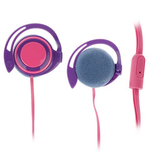 Trendy Ear Hook Stereo Earphones - Purple + Pink (3.5Mm-Plug / 120Cm-Cable)