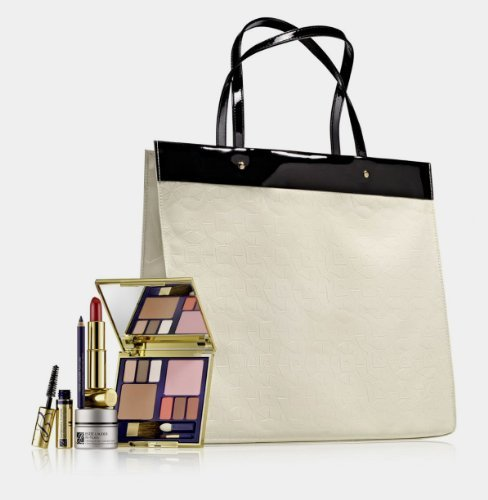Estee Lauder 6 Pcs Luxury Gift Set Including Black And Ivory Tote Bag front-64037