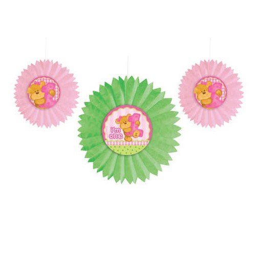 Teddy Bear 1st Birthday Girl Tissue Fans (3 ct) - 1