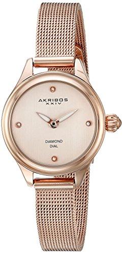 Akribos XXIV Women's AK873RG Round Rose Gold Dial Two Hand Quartz  Bracelet Watch