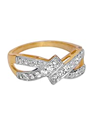 R S Jewels Gold Plated Cubic Zirconia Studded Wedding Ring Jewelry
