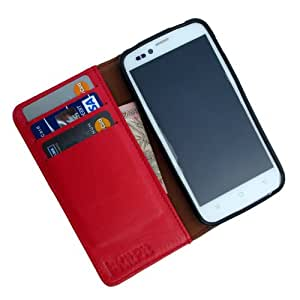 i-KitPit Genuine Leather Wallet Flip Case For Lava Xolo A500 Club (RED)