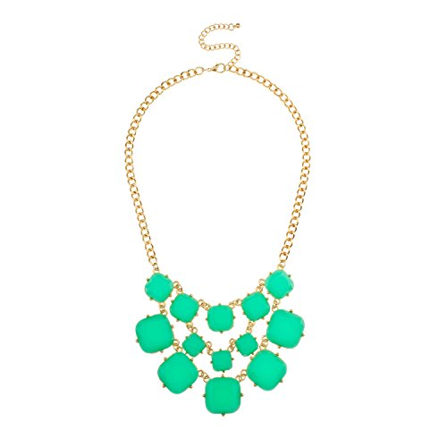 Lux Accessories Green Stone Bib Statement Necklace
