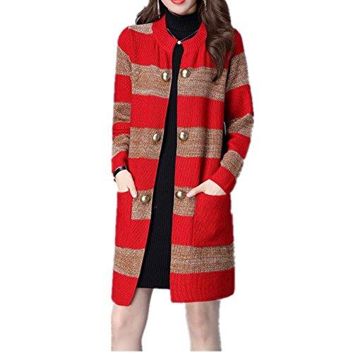 Onorevoli maglia manica lunga Cardigan di maglia splicing cappotto , red , xl