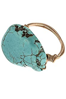 buy Karmas Canvas Natural Gem Stone Accent Ring (Turquoise)