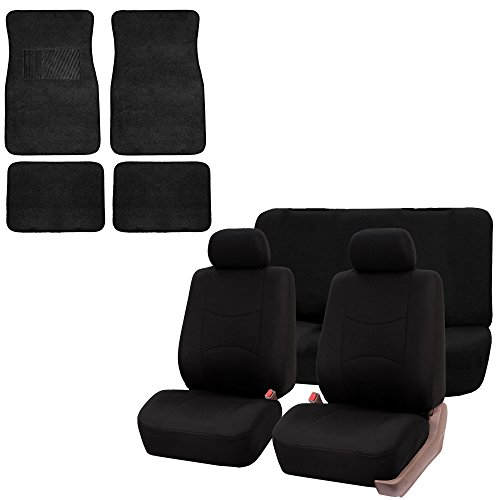 FH GROUP FH-FB050112 + C14403: Black Modern Flat Cloth Seat Covers and Black Carpet Floor Mats- Fit Most Car, Truck, Suv, or Van (2000 Gti Seat Covers compare prices)