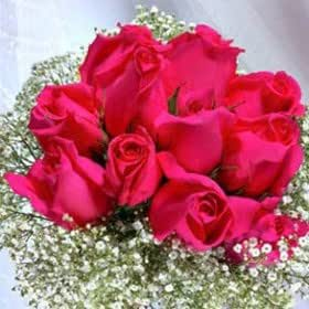Bouquet For Wedding Dark Pink Roses Bridal Flowers