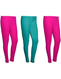 Indistar Women Cotton Legging Comfortable Stylish Churidar Full Length Women Leggings-Pink/Turquoise-Free Size-Pack...
