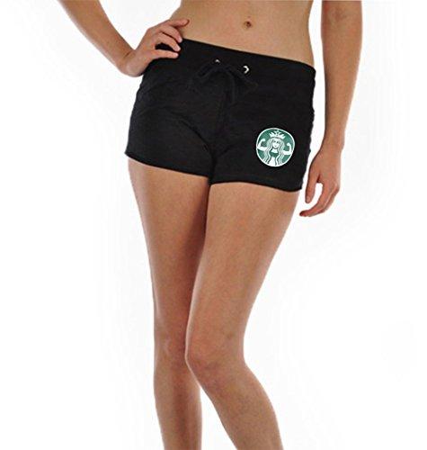 Tough Cookie's Women's Mini Starbucks Parody Gym Printed Shorts (Small, Black)