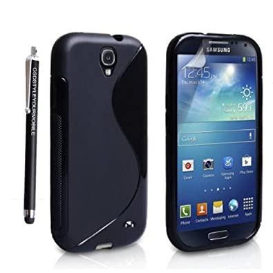 SAMSUNG GALAXY S4 I9500 I9503 I9505 I9506 SILICONE GEL PROTECTION CASE SKIN COVER + SCREEN PROTECTOR + STYLUS (Black S Shape Gel)