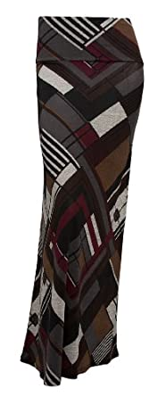 Gravity Threads Pattern Women's Poly Span Maxi Skirt, CL Brown S