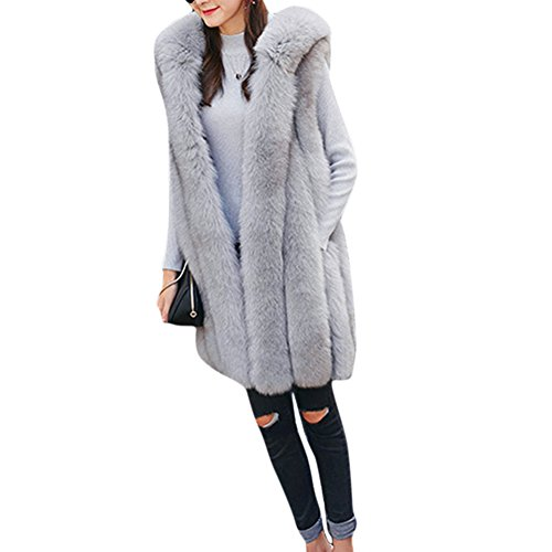 Samber donne spessa pelliccia calda medio-lungo cappotto con cappuccio gilet senza maniche capispalla giacca cappotto