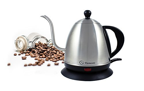 Electric Kettle (1.0L) for Pour Over Coffee and Tea - Elementi Stainless Steel Gooseneck Drip Kettle Teapot (Kettle Spout compare prices)