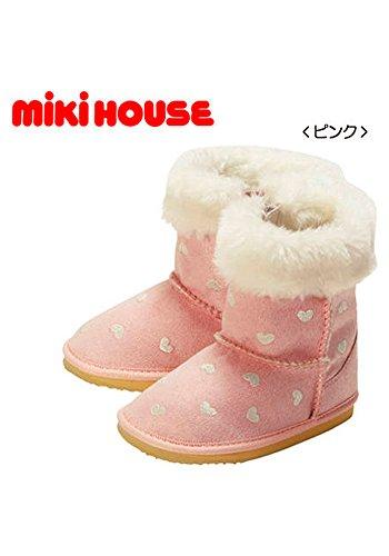 (ミキハウス)MIKIHOUSE 中までふわふわ ラメ刺繍入りブーツ ピンク 13-9403-569 (15cm)