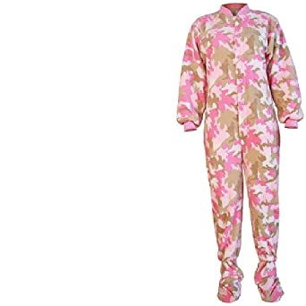 Big Feet PJs Pink Camo Footed Pajamas for Women XS