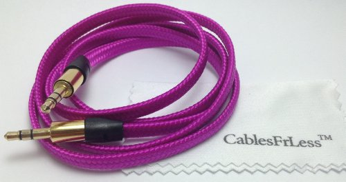 Cablesfrless (Tm) 3Ft 3.5Mm Flat Braided Auxiliary Aux Cable (Magenta)