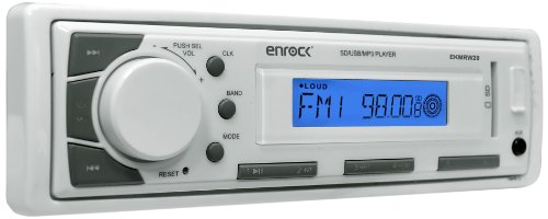 Enrock EKMR20WT Aqua Series Marine In-Dash Receiver with AM/FM Radio and AUX Input for iPod/MP3 Players and SD/USB Flash Readers (White)