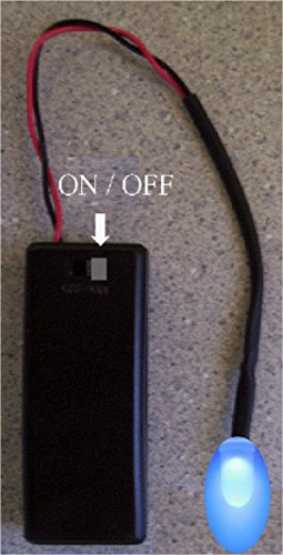 BLUE Flashing LED Auto Theft Deterrent - Fake Car Alarm System Flasher - Battery operated by 2 AAA - On/Off switch - Available in 7 color choices - 2 Window Warning Decals (Car Battery Alarm compare prices)